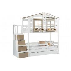 Кровать-домик 2-х ярусная Тимберика Кидс №1 с лестницей-комодом